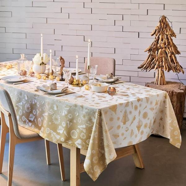 Abwaschbare Weihnachtstischdecke Mille Merry Enduit