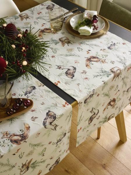 Weihnachtstischdecke Waldleben